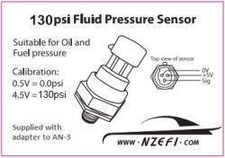 130psi Fluid Pressure Sensor Label