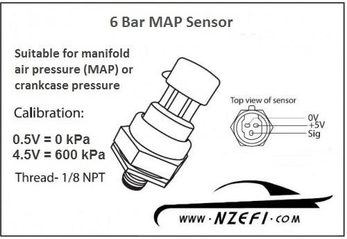 6 Bar MAP Sensor - NZEFI Delco Map Sensor on