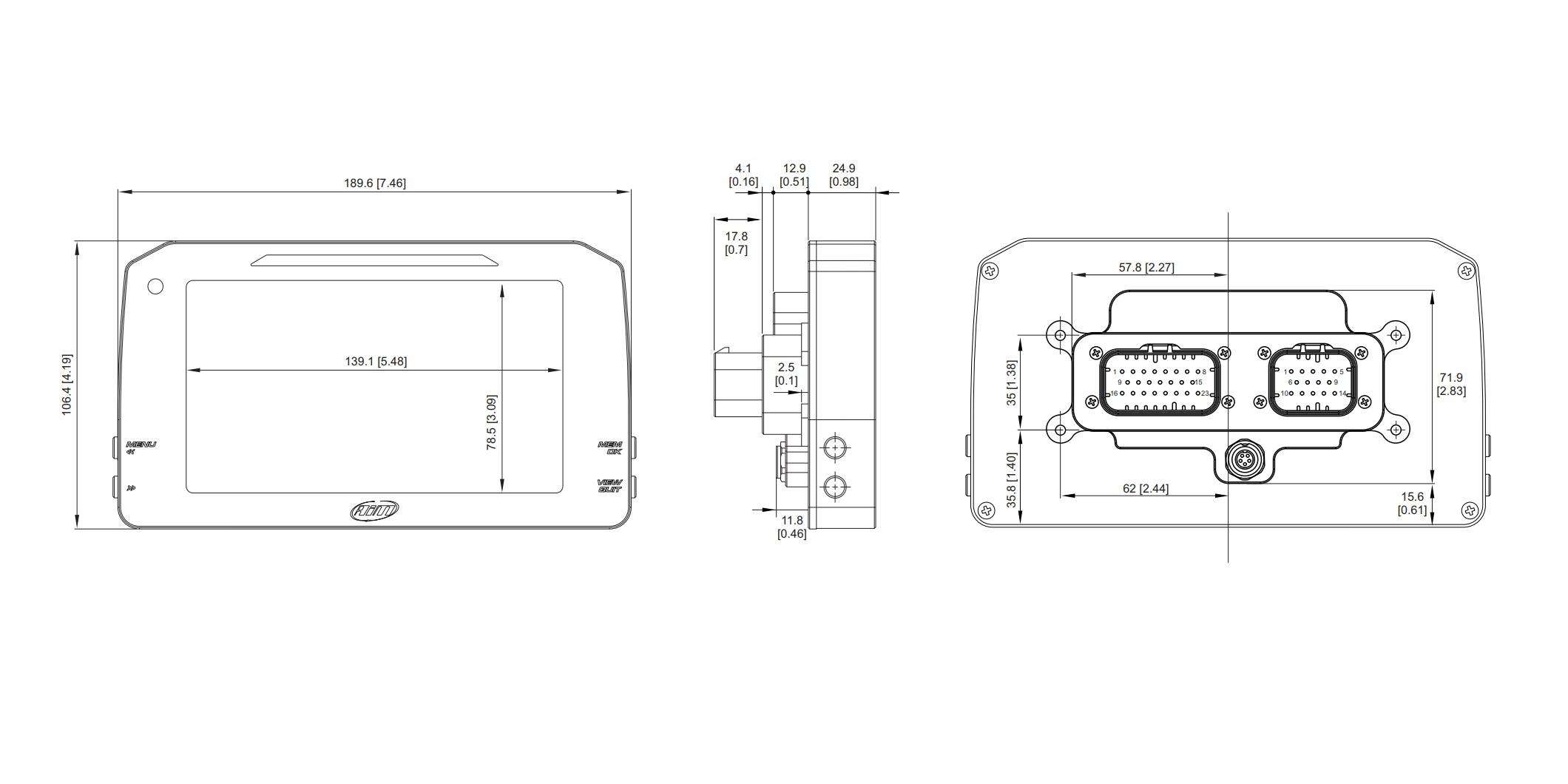 AIM MXP Strada Digital Dash Dimensions - Without Icons