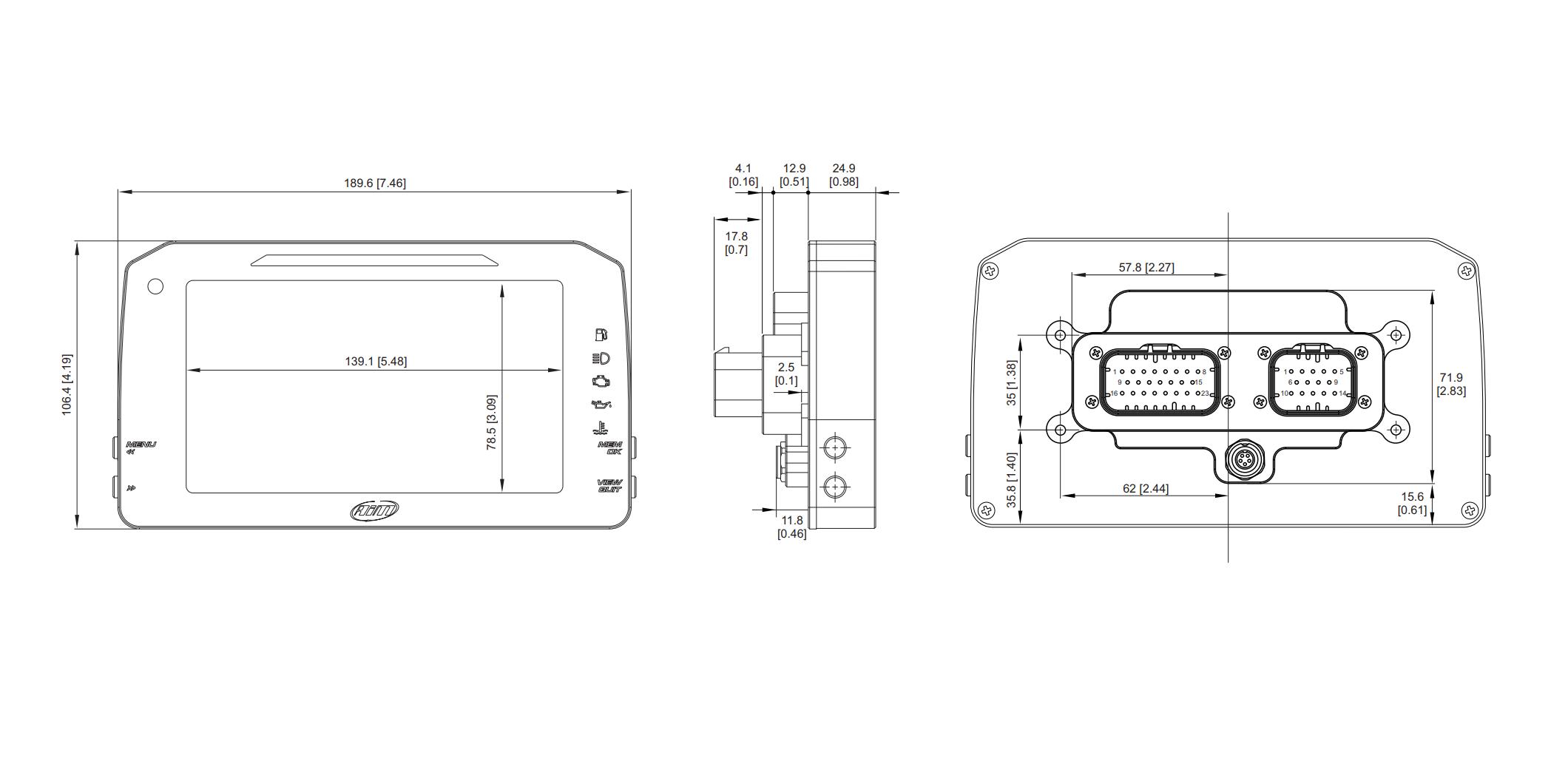 AIM MXP Strada Digital Dash Dimensions