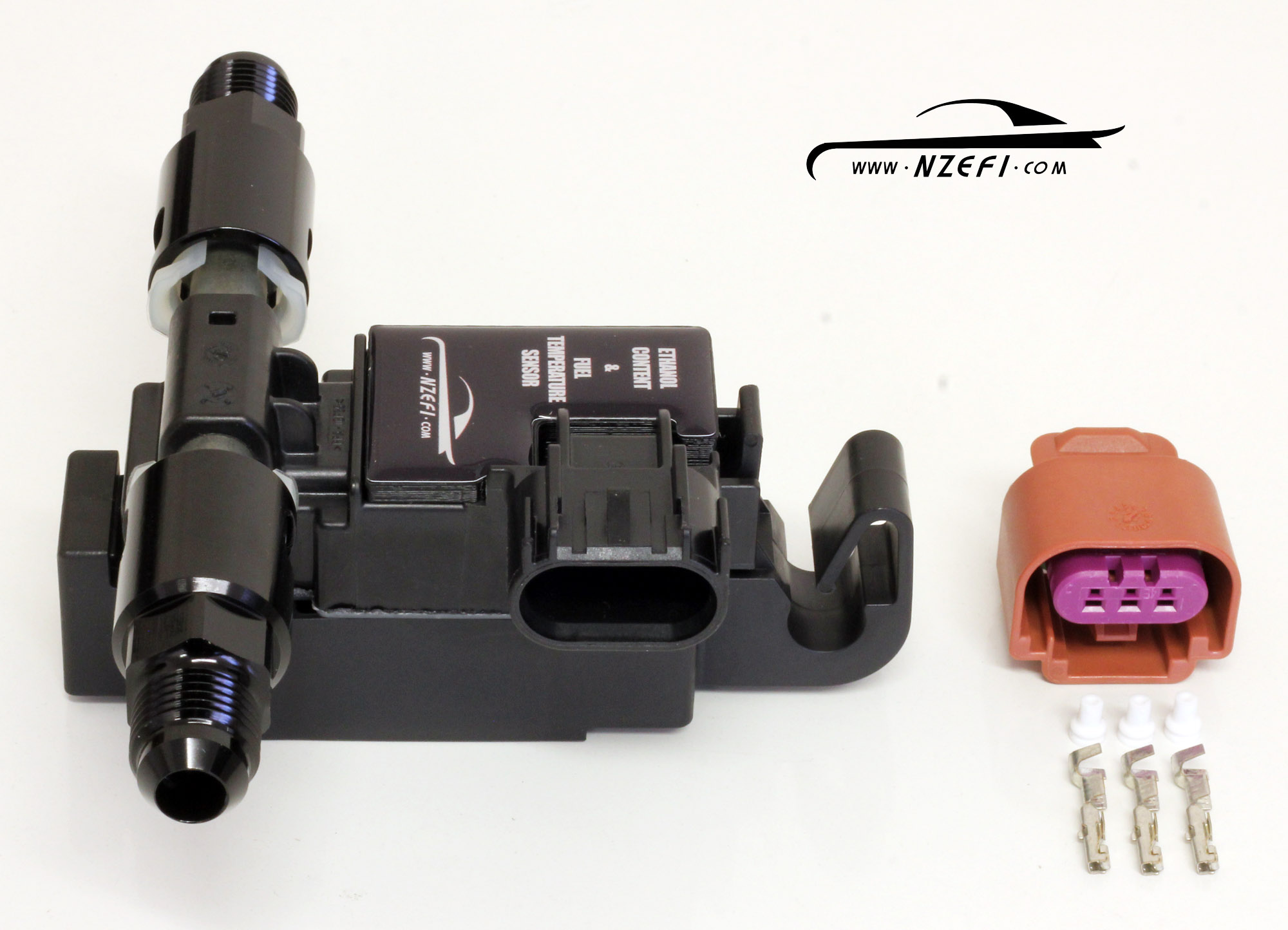 Ethanol Content Sensor with AN-6 Fittings Side View