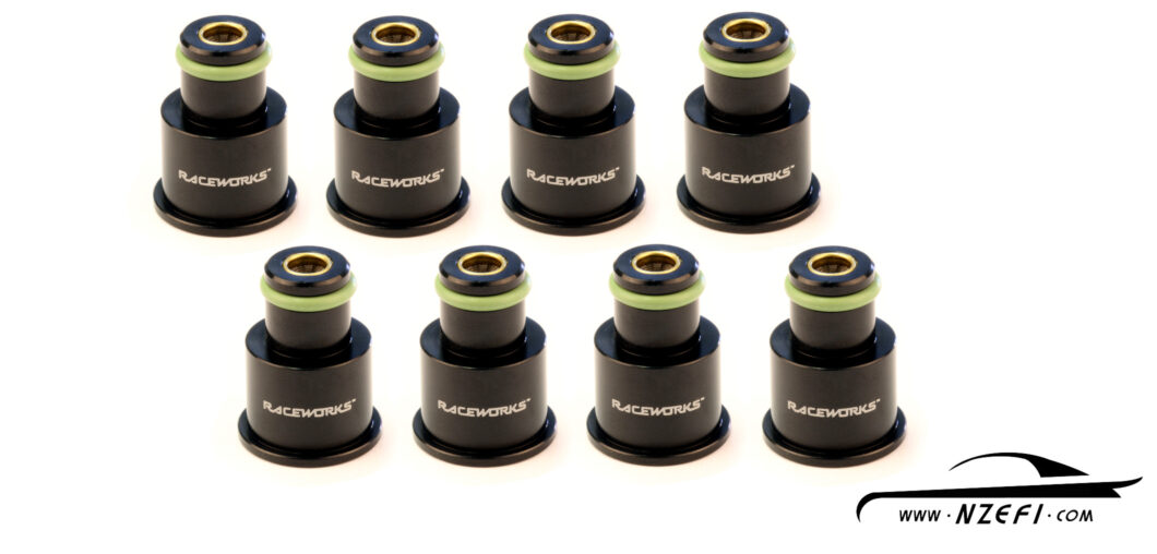 Fuel Injector Top Adapters - To 11mm O-Ring - Short - Set of 8 with filters