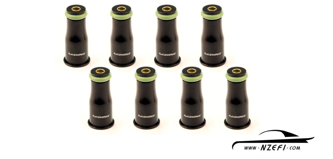 Fuel Injector Top Adapters - To 14mm O-Ring - Long - Set of 8 with filters